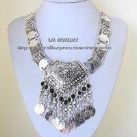 2014 tattoo choker collar chunky vintage turkish coin bib fashion boho jewelry for women statement Necklaces & pendants LM-SC949