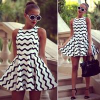 New Casual Summer Dress 2015 Black White Striped Dress Sleeveless Party Dresses Women Girl's Club Dress Sex Vestido Feminino Y42