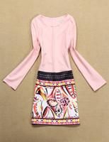 2014 new model fashion free shipping best quality Retro pattern stitching long-sleeved dress
