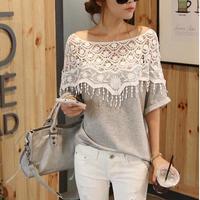 New 2014 fashion t shirt for women laser backless angel wings women's Sweet handmade crochet openwork lace  T-shirt bat