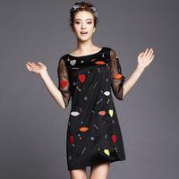 S-5XL Brand Beaded Lip Print Women Spring Autumn Dresses Gauze Half Sleeve Sexy V back Black Dress Plus size XXXL 4XL