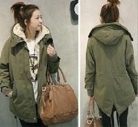 New 2014 Thicken Warm Outerwear Jacket Winter faux Fur Fleece Women Clothes Long Sleeve Military Plus Size XL coat VC0095