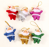 small Santa Claus Pendant with golden power for X'mas tree, Christmas decoration, gift Christmas balls Christmas costumes