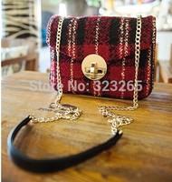 British Institute of style sub-chain bag, shoulder bag girls love tweed, plaid woolen winter new bag