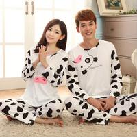 white Cow Fashion autumn winter women's pajamas set, women cotton clothing set,sweet female lady twinset nightwear sleepwear