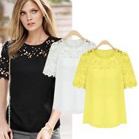 1PC Lady Fashion Chiffon Lace Short Sleeve Crew Neck Casual Plus Size Shirt Women Blouse Top