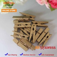 35mm Length Gold Mini Wooden Craft Clothespins for Christmas 100 Pieces