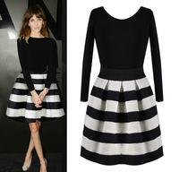 Women 2014 Striped Stitching Dress Fashion Casaul Dress Winter Spring Wearing Cute Black White Length Sleeve Vestidos VC0036