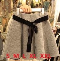 Women pleated wool skirts womens winter woolen high waist skirt short saia feminina