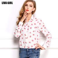 2014 New Autumn Women's Tops Casual Blouse Vintage Red Lip Pattern Plus Size Chiffon blusas femininas free shipping