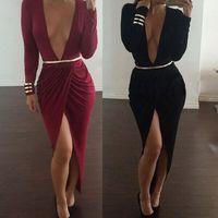 New Fashion 2015 Women Sexy Long Sleeve Deep V neck Slim Bodycon Slit Long Dress Party Bandage Evening Dresses Free Belt