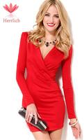 Vestidos 2014 Elegant Ladies V-Neck Long Sleeve Celebrity Pencil Dress Women Work Wear Cotton Slim Evening Bodycon Dress D63A9S