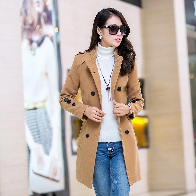 2014 novo inverno casaco de lã meninas long lapela dupla breasted casaco de lã fina mulheres coreanas(China (Mainland))