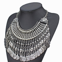 fashion vintage Silver and Golden metal tassel pendant necklace for women 2014 new coins design bohemian style jewelry