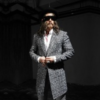New 2014 England yuppie Fashion Houndstooth wool winter coat men single-breasted Long section casual men's Woolen coat jacket
