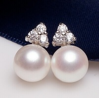 Pearl earrings Wedding natural freshwater stud earrings, 925 sterling silver, princess,8-9mm and 9-10mm,cheap and high qualtiy