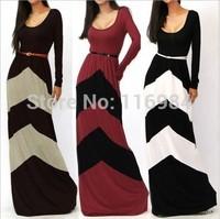 fashion sexy geometry stripe color block long sleeve length one-piece dress