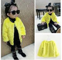 2014 New girls witner coat high quality outwear kids fur parkas vest Children winter fashion clothing long sleever