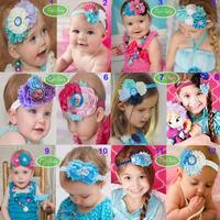 12 Styles Baby Girls Hair Accessories Headband Hairpins Bowknot Flower Headband Frozen  Princess Anna & Elsa Costume CW-15