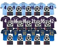 2015 Champions League KUN AGUERO TOURE YAYA soccer jersey thai quality 14 15 DZEKO SILVA KOMPANY Football shirt UCL+Respect