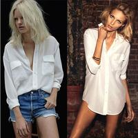 Boyfriend Style Loose Blusa Branca Femininas 2015 Brief Camisa Long Sleeve Two Pockets Button Up White Chiffon Women Blouse C608