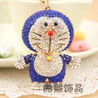 High quality full crystal diamond key chain pendant big DORAEMON of luxury rhinestone inlaying car keychain ring, Christma gift