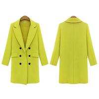 Womens Warm Woolen Cashmere Long Winter Coat Trench Blazer Suit Jacket Outwear