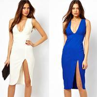 Summer Dress 2014 Plus Size Women Clothing Sleeveless Desigual Novelty Fashion Sheath Deep V Sexy Dresses Vestidos Dropshipping