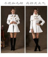 2014 fashion high end quality women winter fur collar white color woolen overcoat slim coat