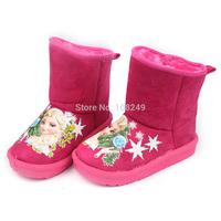 Girls Winter Snow Boots Children's Warm Shoes Pink Frozen Princess Elsa Snowflake Slip Resistant Snow Boots Christmas Gift