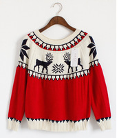 2014 New Winter Snowflake Deer Pullover Sweater Women Fashion Colors Patchwork Cute Jacquard Pattern Knitted Sweaters SW1111