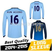 Top thai quality 2014/15   football shirt SILVA DZEKO NASRI Jersey 14 15  soccer jersey long sleeve