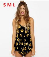 New Hot Short jumpsuit 2014 Sexy Slim Waist floral macacao feminino S M L