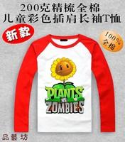 Spring and autumn Children's clothes 100% cotton multicolour raglan sleeve long-sleeve T-shirt Plants vs zombies basic shirt