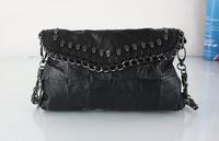100%  Sheepskin Genuine Leather Hot New Arrival Fashion Women Skull Rivet One Handbag Tassel Shoulder Bag Messenger Bags