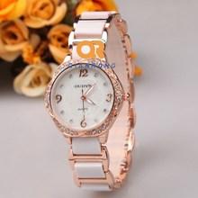 Dress lady elegance watch women luxury brand wristwatches vintage analog crystal rhinestone diamond ceramic strap watch steel