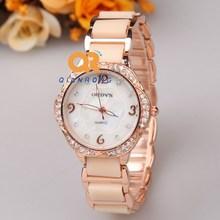 Dress lady elegance watch women luxury brand wristwatches vintage analog crystal rhinestone diamond ceramic strap watch
