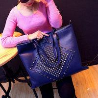 Hot selling PU Leather women messenger bag Rivet shoulder bag big bag fashion shopping handbag  drop shipping