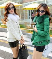 Brand New 2014 Fashion Winter Down Coat Women Down Jacket Female Parka With Fur Callor Red/Green Black/White Khaki Outwear