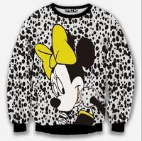 [Amy] 2014 newest style Europe and America white hoodies black Dot big cartoon print 3d sweatshirt women free shipping W152