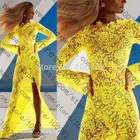 2014 Summer Women New Elegant Long Sleeve Yellow Lace Prom Maxi Dress Sexy Floor- Length Evening Party Cocktail Crochet Dress