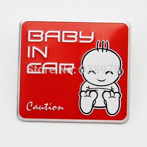 200pcs Aluminum Car Warning Sticker Children On Road BABY IN CAR Sticker Baby On Board Warning Sticker Safety Driving Sign(China (Mainland))