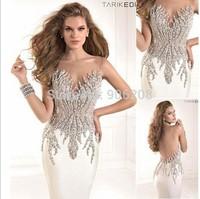 Sexy Transparent Back vestido festa formatura Top Quality Mermaid Handmade Beaded Crystal Elegant Evening Dress Party Dresses