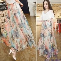 2014 Summer Fashion sheer Long Bohemian Skirts Womens Floral Chiffon Summer Women Beach Maxi Skirt Saia Longa Femininas 02260