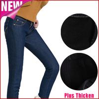 Fleece women jeans new calcas feminina 2014 winter thick warm denim trousers casual plus size skinny pencil pants vaqueros K35