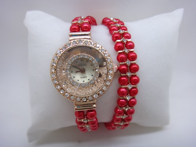 LZ Jewelry Hut ZXL14 05 2014 New Hot Selling Fshion 9 Colors Pearl Strap Rhinestone Quartz