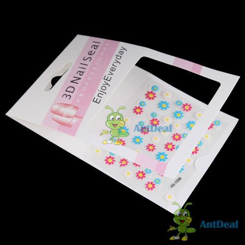 microgood 2014 New Sale Sparkling 3D Nail Art Sticker Decal Flower Makeup Tips modern design(China (Mainland))