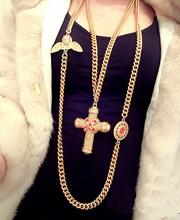 Vintage fashion all-match long design cupid cross rhinestone multi-layer necklace female accessories