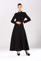 2014 fashion high end quality women plain color black SLIM woolen coat trench