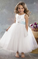 White Ivory Ankle Length Flower Girl Dresses For Sale Ball Gown Kids Long Organza Pageant Party Gowns Jar022